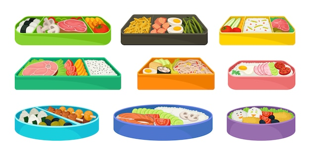 Japanese food in lunch boxes on white background.