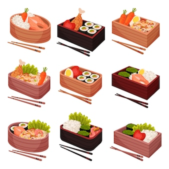 Japanese food in lunchbox on white background.