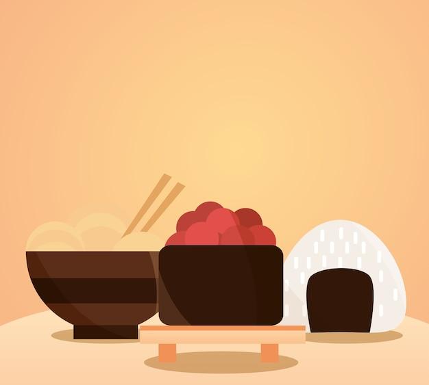 Japanese food menu in cartoon flat illustration