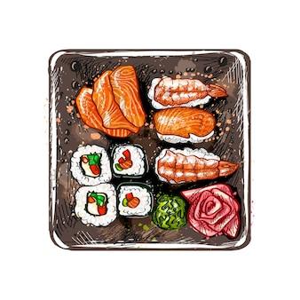 和食メニュー。菜食主義者は、水彩のスプラッシュから設定、手描きのスケッチ。塗料のイラスト