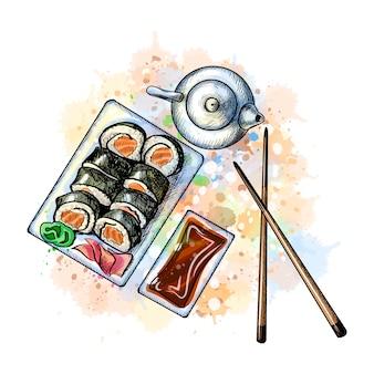 和食メニュー。菜食主義者は、水彩のスプラッシュから設定、手描きのスケッチ。塗料のベクトルイラスト