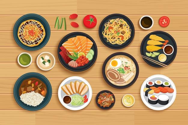 トップビューの木製の背景に日本食。