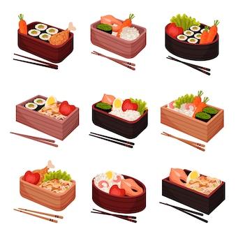 흰색 배경에 일본 음식입니다. 전통 동양 요리.