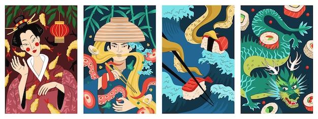 Японская еда плакат темпура жареные креветки. японская кухня баннер рамен национальное блюдо из лапши. рекламный флаер восточного бара суши, сашими и роллов. набор плакатов eps меню ресторана азиатских морепродуктов