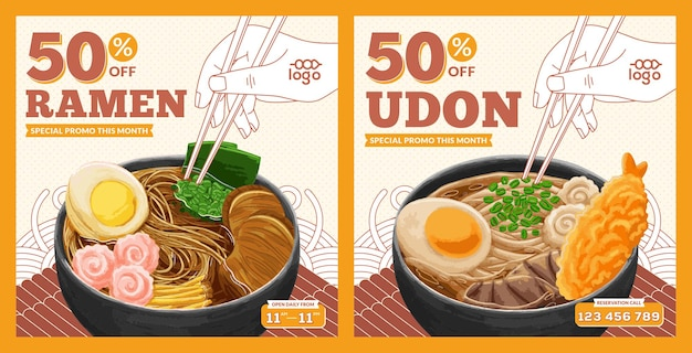 Japanese food promotion instagram feed template in flat design style