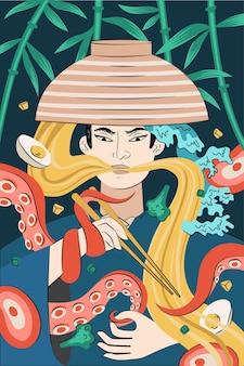 일본 음식 라면 포스터 손으로 그린 디자인. 일본 국수 요리. 오징어나 문어 촉수는 사무라이를 그릇과 젓가락으로 엮었습니다. 아시아 카페 메뉴 광고 배너 또는 전단지 장식