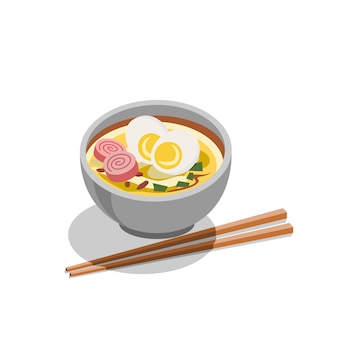 Japanese food ramen vector.