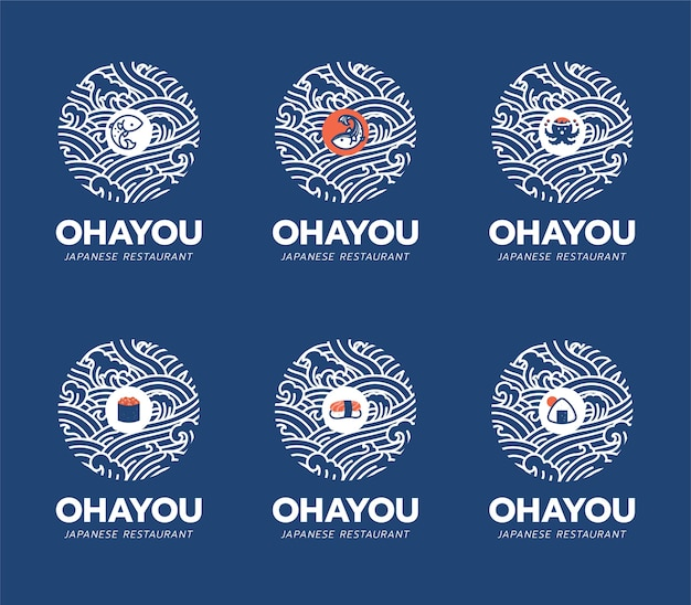 Japanese food and restaurant logo design template. sushi, salmon fish, octopus, takoyaki icon and symbol isolated on water ocean wave. ohayou means to 'good morning' in japan language.