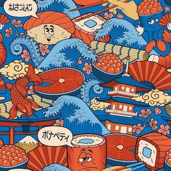 일본 음식 원활한 배경 이 디자인은 레스토랑의 벽지로 사용할 수 있습니다.