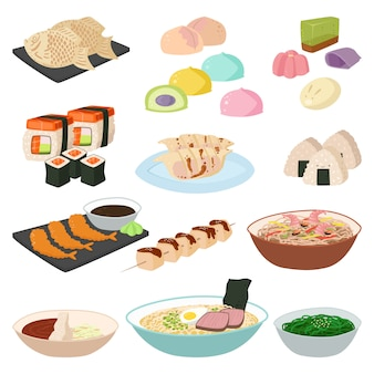 Japanese food sushi asian rice with fish traditional meal set and healthy seafood roll salmon cuisine gourmet delicious
