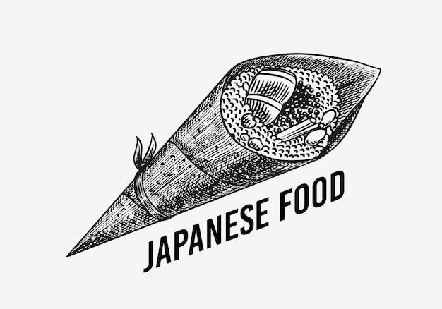 日本食。寿司バーまたはテマキロール。アジア料理店のイラスト。手で書いた