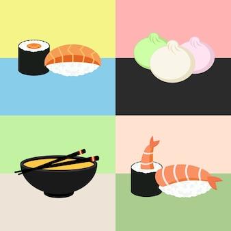 일본 음식 스시 컬렉션. 새우, 딤섬, 된장국, 롤. 웹 아이콘 세트입니다.