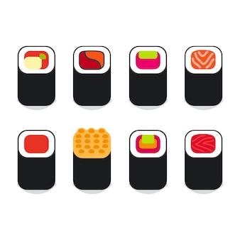 Japanese food sushi icons set