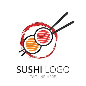 Японская еда суши логотип дизайн вектор
