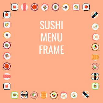 Japanese food sushi menu frame