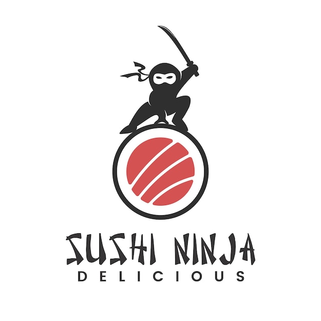 일본 음식 스시 닌자 로고 디자인 영감