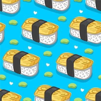 Японская кухня / суши / onigiri бесшовные модели на синем фоне