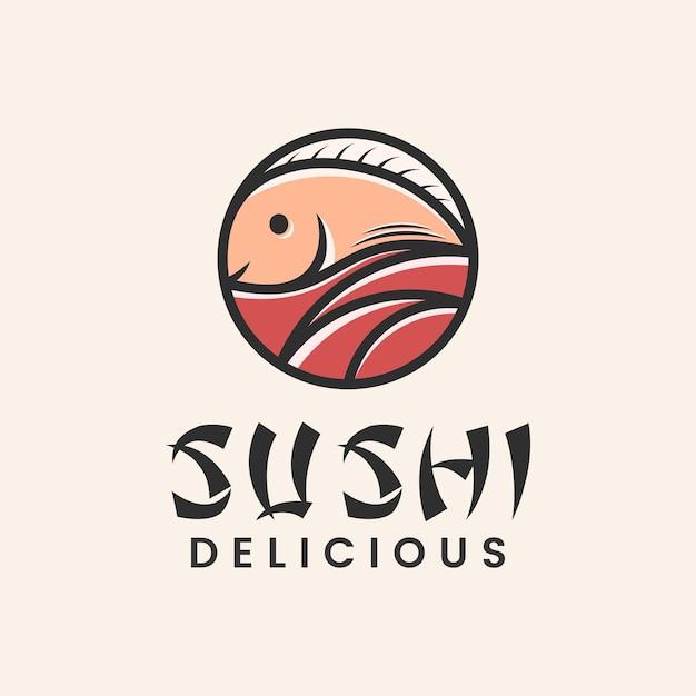 Japanese food sushi restaurant logo with fish icon