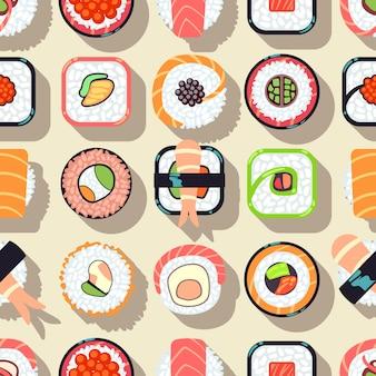Японский дизайн суши суши бесшовные модели