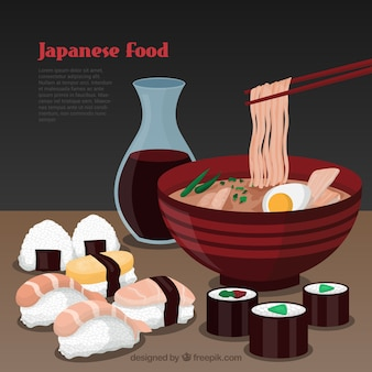 Japanese food template Free Vector