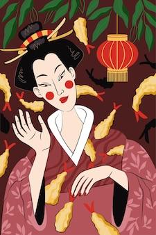 일본 음식 튀김 포스터 손으로 그린 디자인. 일본 국가 요리 반죽에 튀긴 새우. 스시 롤 바 광고 배너입니다. 아시아 해산물 레스토랑 메뉴 또는 여성 게이샤가 있는 전단지 장식. 주당 순 이익