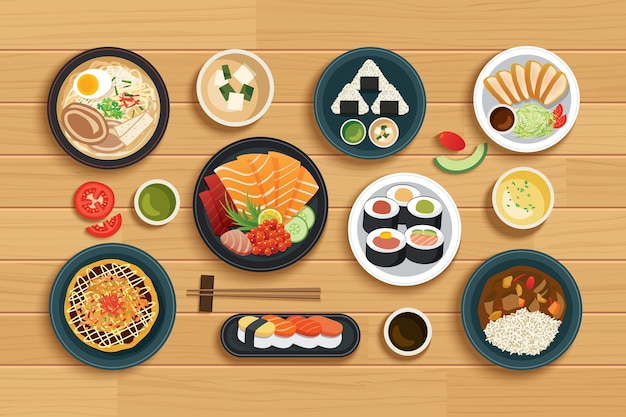 Japanese food on top view wooden background.