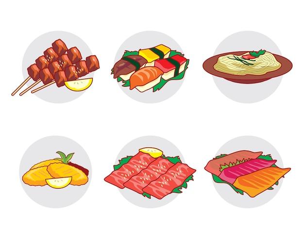 일본 음식 vecto 세트