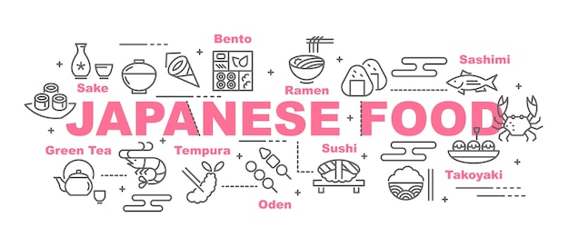 Japanese food vector banner