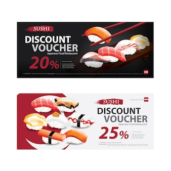 Japanese food voucher discount template illustration