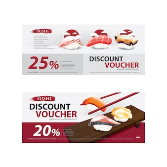 Japanese food voucher discount template set