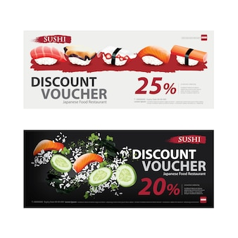 Japanese food voucher discount template vector illustration