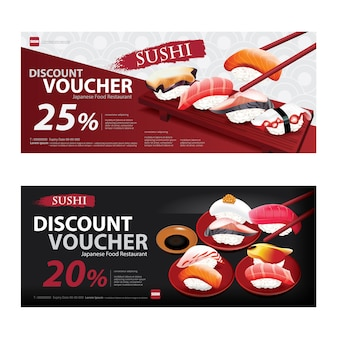 Japanese food voucher discount template