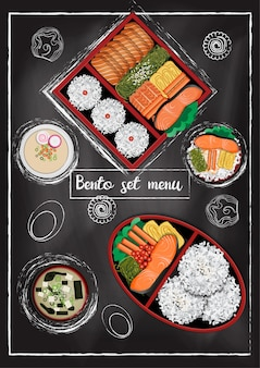 Japanese food  with chalkboard background