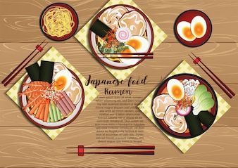 Japanese food with wood background