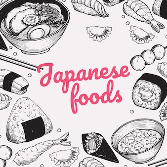 Japanese foods doodle handdrawn