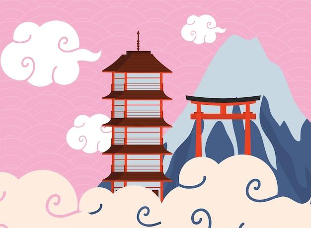 日本の門と建物