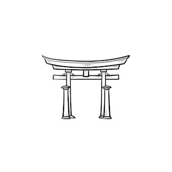 Японские ворота рисованной наброски каракули значок. ворота тории и японская культура, концепция традиционной архитектуры