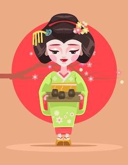 日本の芸者のキャラクターがお茶を持っています。ベクトルフラット漫画イラスト
