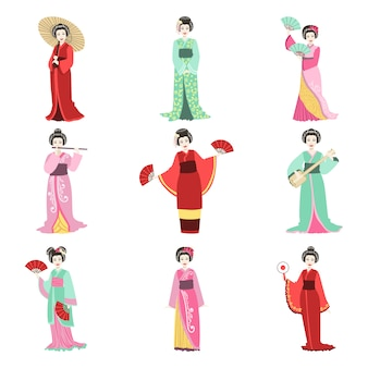 Japanese geisha in different kimono set