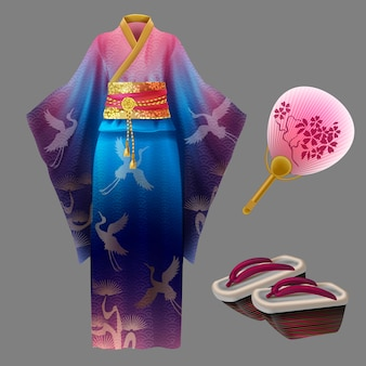 Японское платье гейши и аксессуары Бесплатные векторы