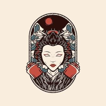 Японская гейша иллюстрация с винтажным стилем