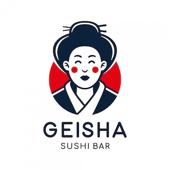 Japanese geisha vector logo illustration