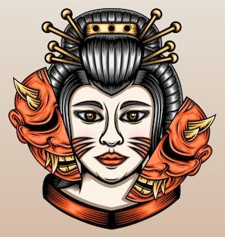 Japanese geisha with hannya mask.