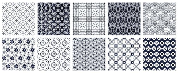 Японские геометрические узоры, изолированные на белом фоне