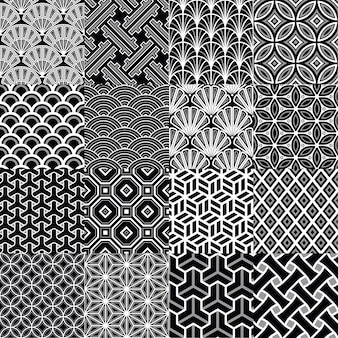 Japanese geometric seamless patterns