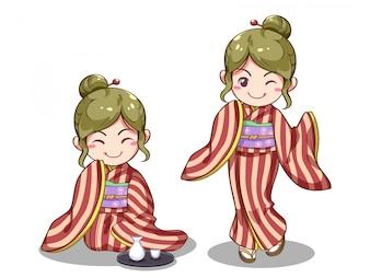 Японская девушка векторное изображение