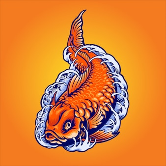 Japanese gold fish illustration