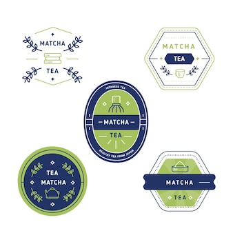 Japanese green matcha tea geometric badges