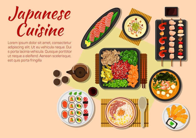 Якинику из говядины на гриле по-японски, подается со свежими овощами и зеленью, сашими из лосося, тарелка для суши, жареные креветки с семенами кунжута, крем-суп из шиитаке с креветками, суп мисо из тофу
