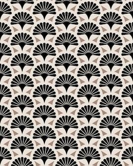 日本の扇子花ベクトルシームレスパターン。日本の花の庭のテクスチャデザイン。